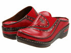 SPRING STEP L'Artiste Womens Chino Open Back Clogs Shoes Red Leather CHINO-R