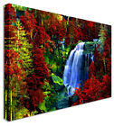 Large Picture Waterfall Red Leaf Forest Canvas Art Cheap Print