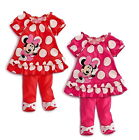 Girls Kids Minnie Mouse Outfit Top Dress Leggings Pants 2pcs Set 6M-3Y Clothing