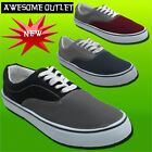 MENS FLAT CANVAS PLIMSOLES PLIMSOLLS PUMPS LACE UP TRAINERS SHOES UK SIZES 7-12