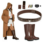 Star Wars Costume Bundle - Obi Wan Tunic Brown Jedi Robe, Belt, Boots+ from UK