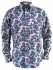 Mens Paisley White Blue Pink Button Down Collar Tailored Shirt Long Sleeve New