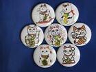 "Maneki Neko set of 7 Pinback buttons,badges size 1"",1.24"" or 2.25"" pins"