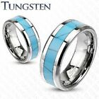 New Mens Solid Tungsten Carbide Turquoise Inlay Band Ring Wedding Womans (P10)
