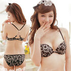 Alphabet Prints Front Closure Racer Back Bra and Panty Set Lingerie