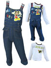 Mickey Mouse Boys Dungaree And Long Sleeved Top Set Denim Ages 0-3M up to 4Years