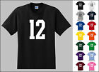 Number 12 Twelve Sports Number Youth Jersey T-shirt Front Print