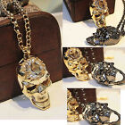 Punk Style Golden Gun-Black Crystal Gem Cool Skull Pendant Chain Necklace
