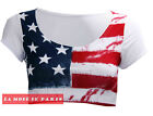 M69 NEW WOMENS LADIES STAR AND STRIPE AMERICAN FLAG USA CROPPED CAP SLEEVE TOP.
