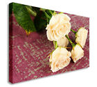 White Rose On Wood Floral Canvas Wall Art Picture Large+ Any Size