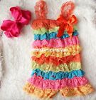 Baby Orange Blue Hot Pink Yellow Lace Rompers Strap Big Bow Headband 2pc NB-3Y