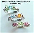 925 Sterling Silver,Swarovski Crystal Birthstone/Mothers Rings/1, 2 Or 3 Stone