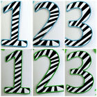 Blue Lime Green Zebra 1 2 3 Birthday Number Embroidered Applique Patch Iron Sew