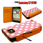 PINK COLOUR MOBILE PHONE WALLET FLIP CASE COVER FOR SAMSUNG GALAXY S2 I9100