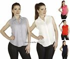Sleeveless Pleated Point Collar Collared Button Down Chic Blouse Tank Shirt Top
