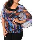 Ladies Brushstroke Butterfly Party Top w/Beads Size 14 1XL 16 2XL18 3XL NEW