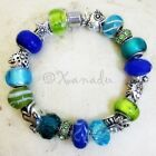 Blue Green Turquoise Teal Ocean European Charm Bracelet With Sea Animal Beads