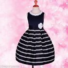 Striped Formal Occasion Dress Flower Girl Bridesmaid Party Navy Blue Sz 4-9y 245