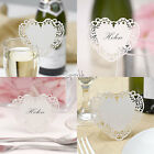 Heart Place Name Cards x10 - In 2 Designs - White/Ivory - HIGH QUALITY - Wedding