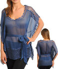 Women Party Batwing Buterfly Tunic Top w/Crochet Size 8 / 10 NEW