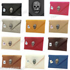 BLUE NUDE PINK WHITE GREY RED Faux Leather Diamante Skull Envelope Evening Bag