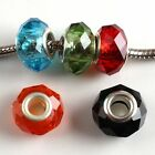 Wholesale Lucid Faceted Crystal Glass Charms Spacer Beads Fit Bracelets On Sale