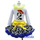 2nd Birthday Cowgirl Pettiskirt Red Hat White Long Sleeves Top 2pcs Outfit 1-7Y