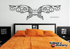 bedrooms with teal walls - BUTTERFLY WITH HEARTS Vinyl Wall Decal bedroom decor art pinstripe design B063