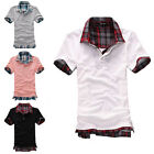 New Mens Casual Slim Fit Polo Shirt T-shirts  Plaid Tee Shirt 4SIZE 4COLOR W190