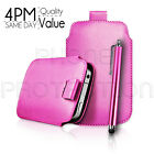 LEATHER PULL TAB SKIN CASE COVER POUCH AND STYLUS PEN FOR VARIOUS PHONES/MOBILES