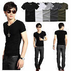 Men's Slim Fit V-Neck Muscle Short Sleeve Solid Casual T-Shirt Top Tee Colorful