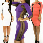 LADIES Innovative Sexy Bodycon Series 5 Inset Both Side Mesh Panel Bold Lipstick