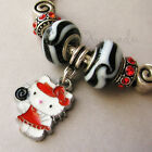 Red Hello Kitty Lollipop European Charm Bracelet With Black And Red Enamel Beads