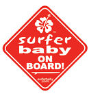Surfer Baby on Board Car/Truck Safety Vinyl Window Sticker Sign Decal 3 Colors