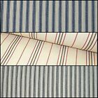Extra Wide Upholstery Curtain Ticking Blue/Black Chalk White Stripe Fabric