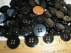 "4-hole shiny black plastic buttons set 30L/22L choose 3/4"" 9/16"" suit shirt bulk"