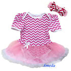 Baby Girls Pink White Chevron Bodysuit Romper Pettiskirt Bow Headband 2pcs 0-18M