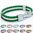 Womens Boys Flag Style Braided Rope Surfer Man-made Leather Bracelet Wristband