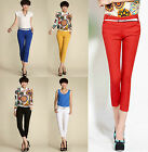 Womens Lady Candy Color Skinny Cotton Pencil Pants Casual Slim OL Trousers+Belt