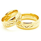 Matching 7mm Solid 18k Gold Plated Facet Titanium Wedding Ring Set (Sizes 6-15)