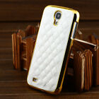 NEW  Designer Leather Gold Chrome Hard Case Cover For Samsung Galaxy S4 I9500