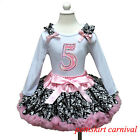 Girls 5th Birthday Long Sleeves Shirt Light Pink Demask Pettiskirt Party Dress