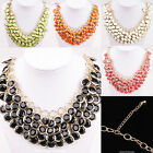 Fashion Multilayer Gold Plated Resin Gem Round Bib Charm Necklace