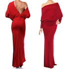 RED MULTI WAY Reversible PLUNGING Convertible MAXI DRESS Off Shoulder CRUISE USA
