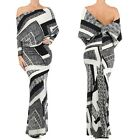 STRIKING Black/White MULTI WAY Reversible PLUNGING Convertible MAXI DRESS S M L