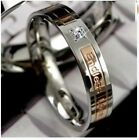 Diamante Gold/Black Titanium Steel Lovers Promise Rings Couple Wedding Bands #54
