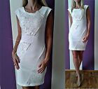 BODYCON STRETCH pearl crystals lace DRESS Christmas party  8 10 12 14 LOOK