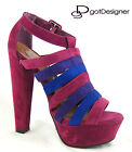 NEW Womens Shoes High Heels Platforms Sandals Peep Toe Strappy Plum Multi Color