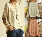 New Cardigan Patch Korean Women Sweaters Knit Vintage Asymmetri Jumper Knitwear