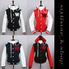New Women's Hoodie Varsity Letter W Baseball Solid Cotton Two tone Hood Jacket
